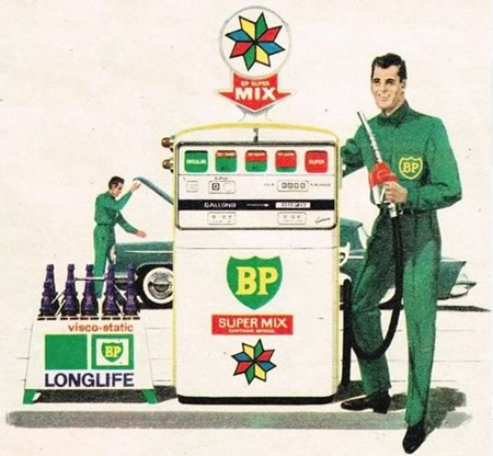 Image of BP Super Mix advertising sign from around 1965 in Brisbane Qld Australia