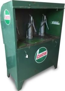 Photo of early Castrol Oil dispener with various grades of oil.