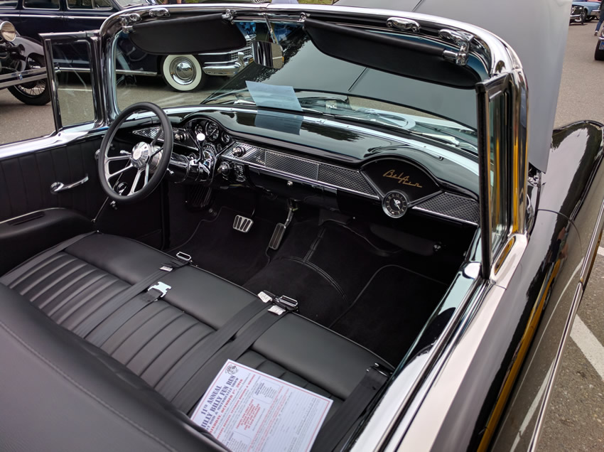 Original dashboard of the 55 Chev convertible Impala new leather interior for modern refinement