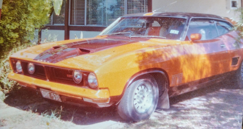 Front side image of my Ford Falcon XB GT coupe with orange seating. Photo is estimated to be taken in 1976 in Palm Beach on Queensland's Gold Coast, Australia