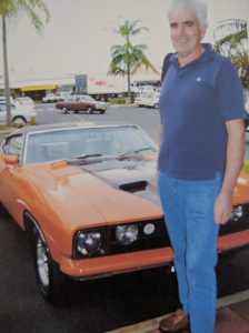 Image of the author Alan O'Neill with is first car a Ford XB GT351 hardtop