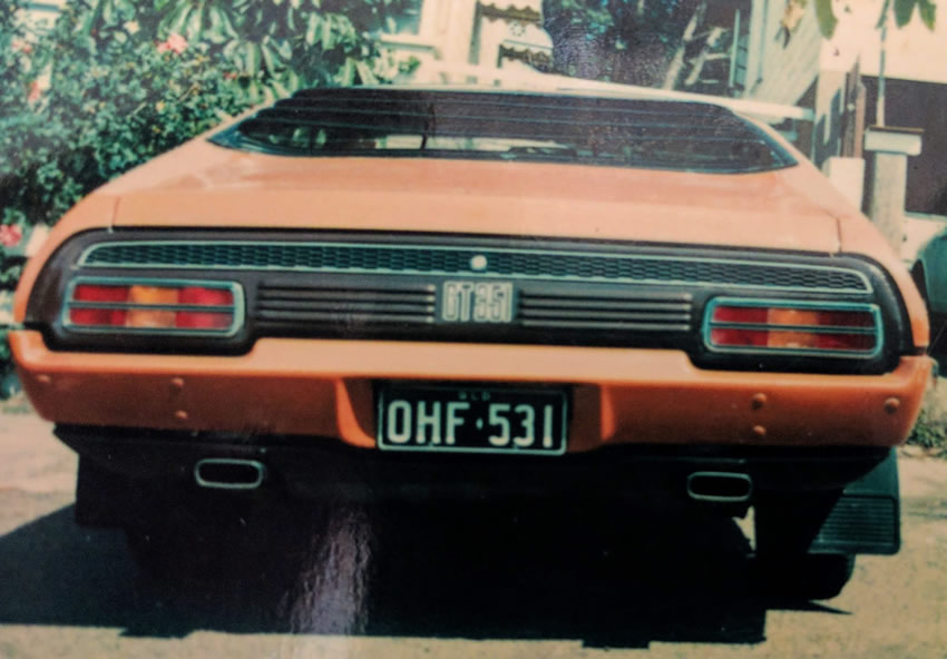 Image of the rear view of OHF531 my Ford Falcon GT351 hardtop not long after I first bought it in 1976