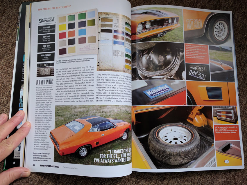 Photos of Australian Survivor Car magazine featuring my classic car which is now owned by a new owner in Victoria