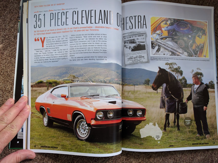 Magazine images of the interior of my classic car - Ford XB GT 351 hardtop license number OHF351