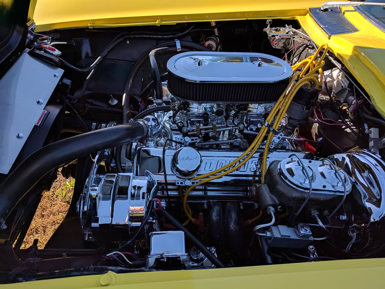 Engine compartment of C2 Corvette from 1965