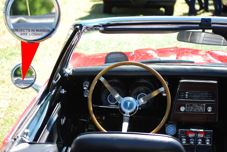 Image of driver's view with the outdoor tachometer on the 1967 Pontiac Firebird 400 convertible