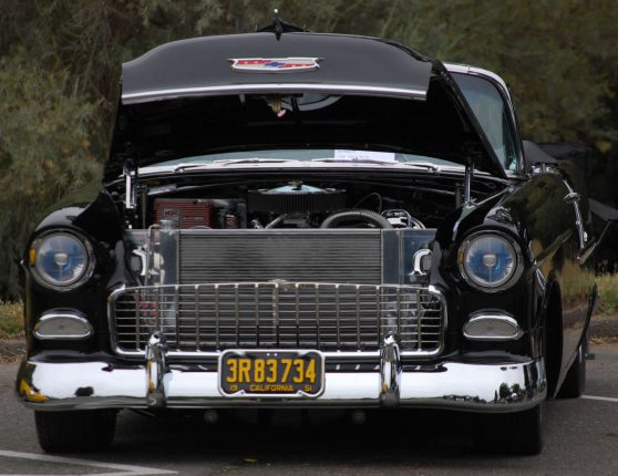 Image of retro 1955 convertible Chevrolet Bel Air Black paint