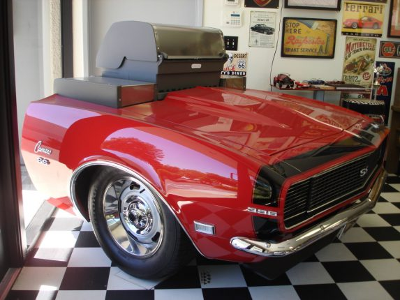 Image of a Camaro SS 'carbeque' or 'barbecar' - a 1968 Camaro front end with a BBQ built into the frame