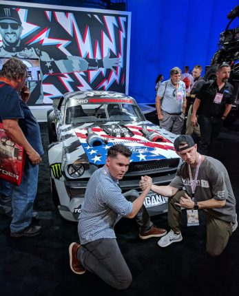 Visitors capture the passion of Ken Block's Hoonigan 65 Mustang at 2017 SEMA Show