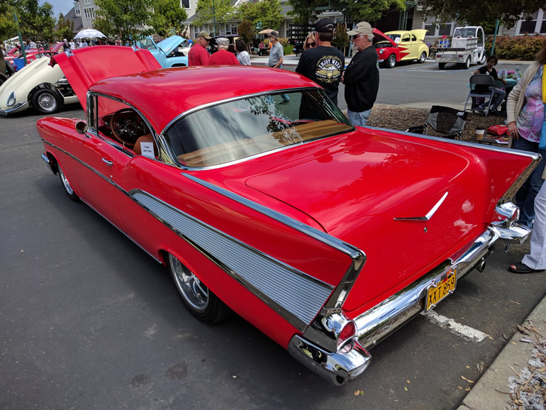 Image of rear quarter section and back window of 57 Chev Bel Air