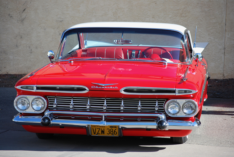 59' Chevrolet Impala low rider demonstrates the aircraft like design inspiration of the era.