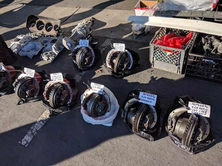 Image of differentials on display at the Good Guys swap meet in Pleasanton, Ca