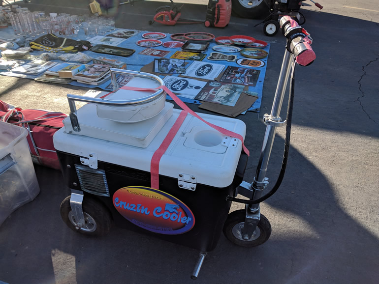 Image of a Cruizin Cooler, an electric driven motorized cooler at a swap meet for the Good Guys at Alameda Fairgrounds