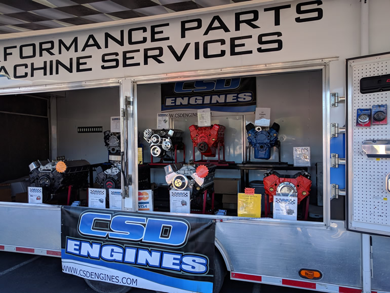 CSD Engines from Marysville, Ca with a display of crate engines from Mopar, Ford, and Chevrolet ready to purchase