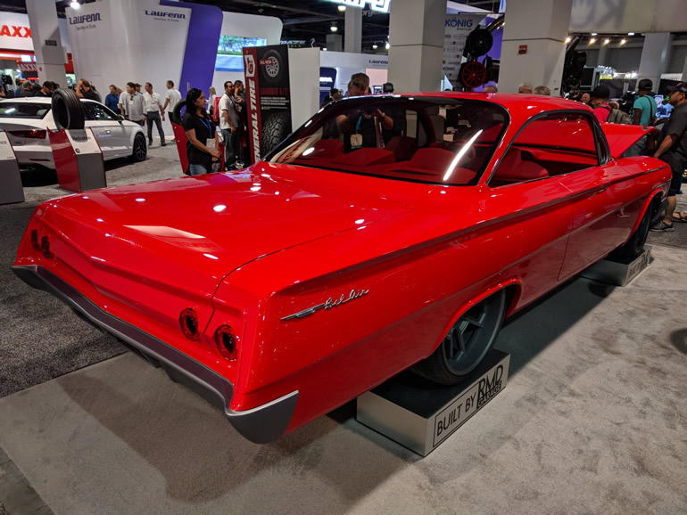 RMD Garage of Long Beach's creation - rear corner view of Sanity, a 1962 Chevrolet Bel-Air frame off customization