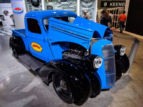 Image of 37 Dodge pickup with a Mopar crate engine