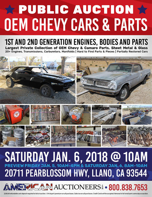 American Auctions Llano Ca auction poster for OEM Chevy cars and parts auction Sat Jan 6 2018