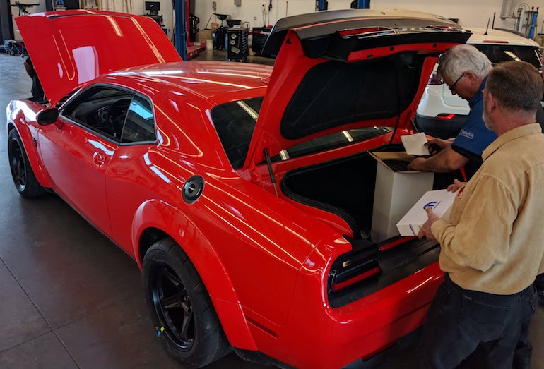 Dodge Demon receives predelivery inspection at the dealership in California
