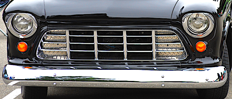 Image of 1956 Chevrolet Pickup grille, headlights, bumper and front facia