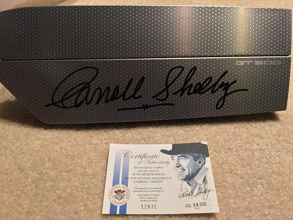Commemorative signature from The Carroll Shelby Foundation