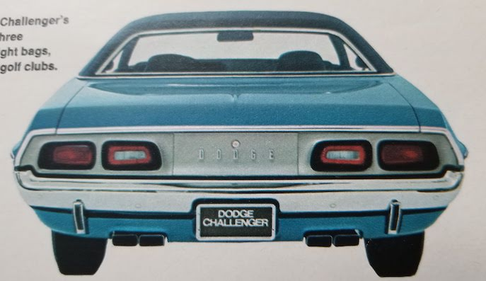Image of rear view of 1972 Dodge Challenger taken from the original dealer's brochure