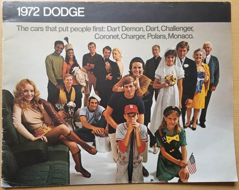 Cover page of 1972 Dodge passenger vehicles brochure in original condition
