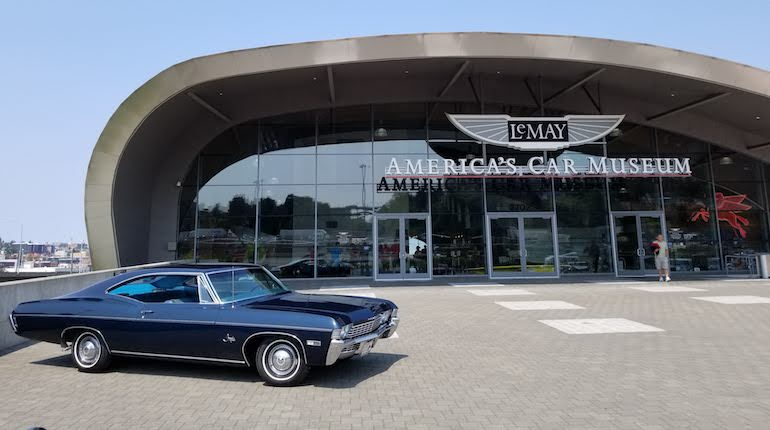 Image of Chevrolet Impala classic car outside the Le May car museum in Tacoma