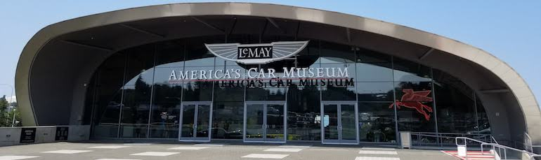 America's Car Museum in Tacoma showing main entrance and building