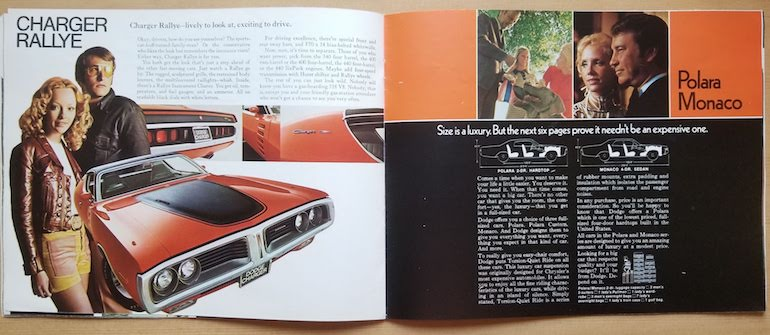 1972 Dodge Charger Rallye feature page in the 1972 Dodge passenger car brochure