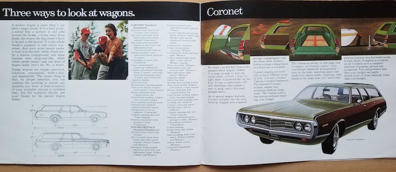 Information about 1972 Dodge wagons including the Coronet, Polara, and Monaco wagons on pages 25 and 26 of the 1972 Dodge passenger cars brochure