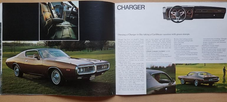 1972 Dodge Charger featured in the 1972 Dodge passenger cars brochure