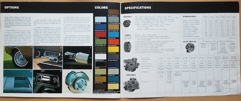 Options, colors, and specifications presented in the inside back cover of the 1972 Dodge passenger vehicles brochure