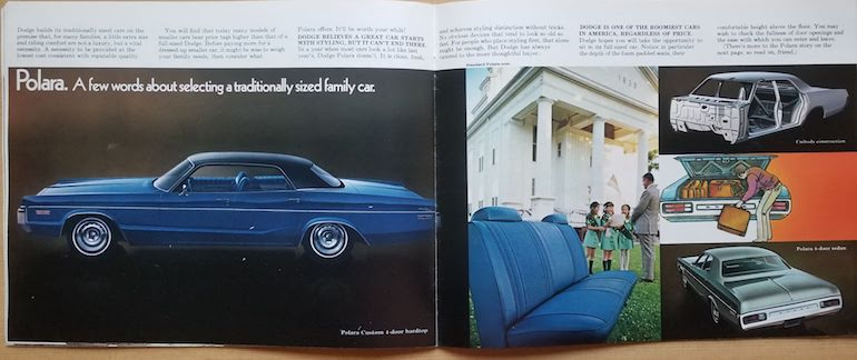 1972 Dodge Polara displayed in pages 19 and 20 of the 1972 Dodge passenger cars brochure