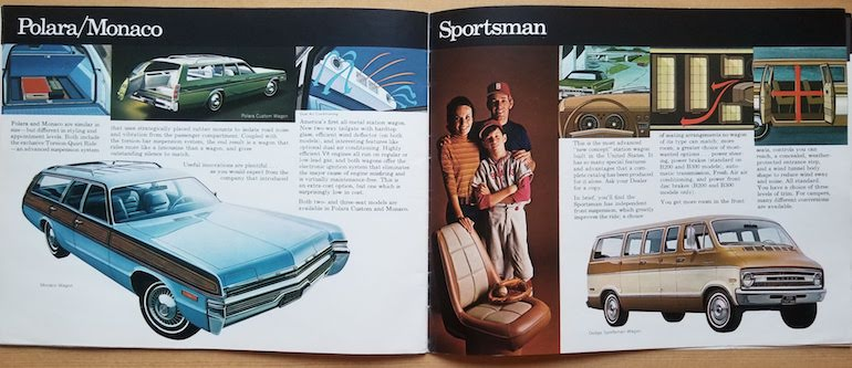 Pages 27 and 28 of the 1972 Dodge passenger vehicles brochure featuring the Dodge Polara and Dodge Monaco wagons