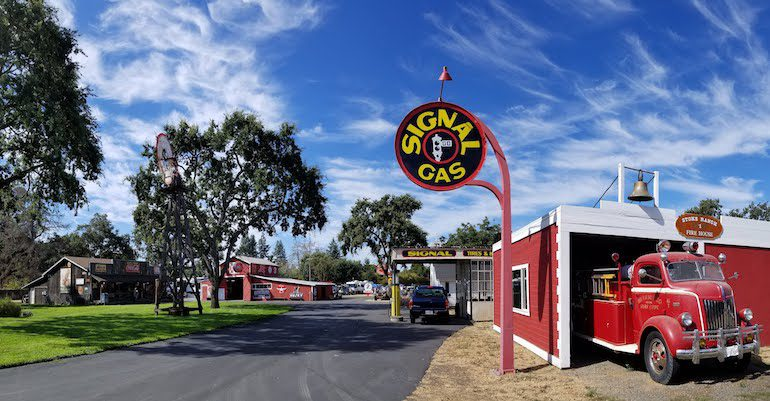 Image of Stokes Ranch showing old gas station, fire truck, and general store in Santa Rosa California