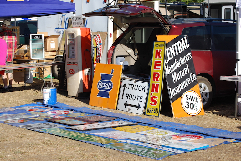 Gas pumps, road and merchandising signs on sale at the 2018 Pacific Coast Gas Bash and Swapmeet at Stokes Ranch in Santa Rosa